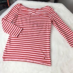 Kate Spade Striped Bow Neckline 3/4 Sleeves Top